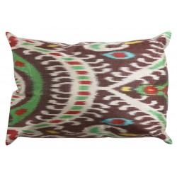Silk Ikat Pillow Cover - Brown