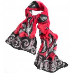 Red and Grey Felt Scarf
