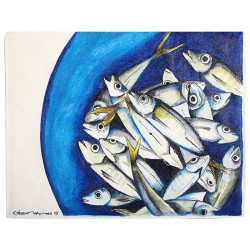 Horse Mackerels Oil on Canvas iPad Case / Wallet