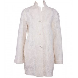 Cream Felt Coat with Lacework