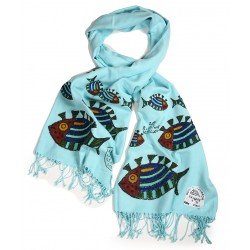 Bedri Rahmi Cyan Pashmina shawl