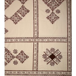 Claret Red Table Cloth with Tile and Seljuk Patterns
