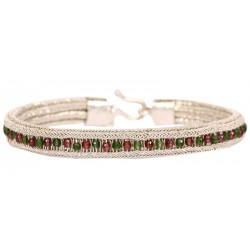 Kazaziye Silver Bracelet with Ruby and Emerald