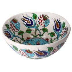 Iznik Porcelain Bowl with Pomegranate and Tulip Pattern