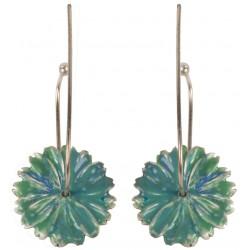 Green Flower Enameled Silver Earrings