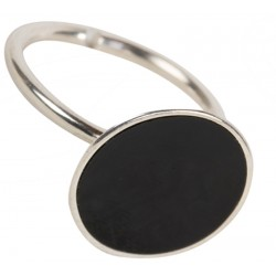 Enameled Silver Ring - Black