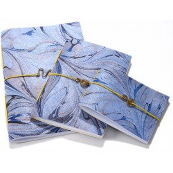 Blue Marbling Art Trio Notebook Set - 3