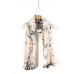 Poudre Color and Grey Fringed Cotton Silk Wrap