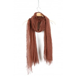 Brick Color Goat Wool and Silk Pashmina Scarf