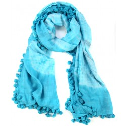 Blue Fringed Cotton Silk Batik Dyed Wrap