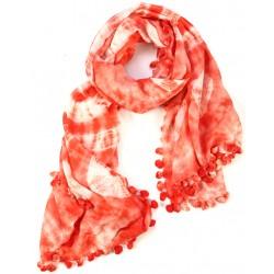 Red Fringed Cotton Silk Batik Dyed Wrap