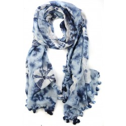 Dark Blue Batik Dyed Fringed Cotton Silk Wrap