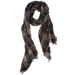 Beige Red Green Burberry Pattern Goat Wool and Silk Pashmina Scarf