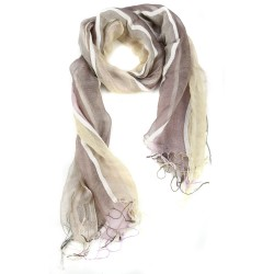 Striped Milky Brown Raw Silk Fringed Scarf