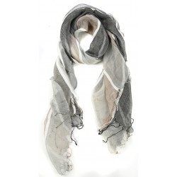 Striped Grey Raw Silk Fringed Scarf