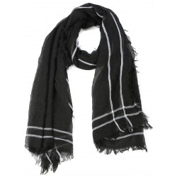 Black Goat Wool and Silk Pashmina Scarf