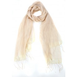 Light Yellow Raw Silk Fringed Scarf