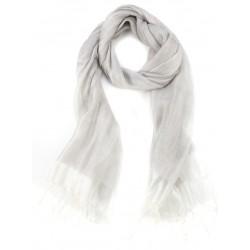 Light Grey Raw Silk Fringed Scarf