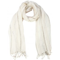 Creme Silk Linen  Scarf with Beige Stripes