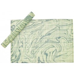 Table Mat Set - Green Marbling Art
