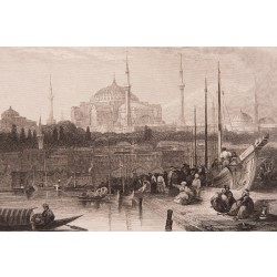 Eminönü ve Hagia Sofia view from Karaköy Engraving