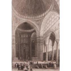 Interior of Süleymaniye Mosque Engraving