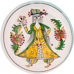 Kütahya Pretty Girls Ceramic Plate - Large Yellow