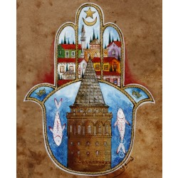 Galata Tower and Fatima's Hand (Hamsa) Ottoman Miniature