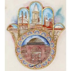 Hagia Sophia and Fatima's Hand (Hamsa) Ottoman Miniature
