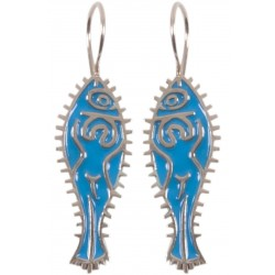 Bedri Rahmi Woman with Fish Earring - Blue