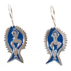 Bedri Rahmi Woman with Fish Earring - Dark Blue