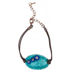 Turquoise Evil Eye Enamel Leather Cuff Bracelet