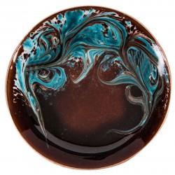 Bronze Blue Enamel Plate - 1