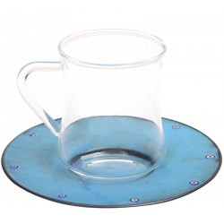 Copper Enameled Coffee Cup Tea Cup - Blue