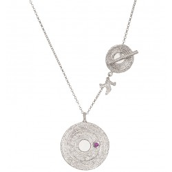 White Rhodium Plated Silver Necklace with Ruby 2