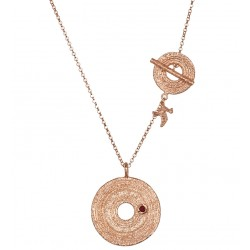 Pink Rhodium Plated Silver Necklace with Pyrope 2