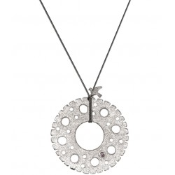 White Rhodium Plated Silver Necklace with Ruby