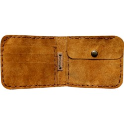 Suede Leather Wallet - Cinnamon
