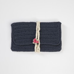 Ultramarine Knitted Clutch Bag with Grap Buttons