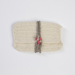 Ecru Knitted Clutch Bag with Grap Buttons