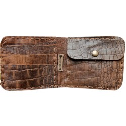 Leather Wallet - Crocodile Patterned Brown