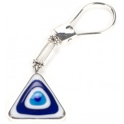 Fusion Glass Silver Evil Eye Keyholder