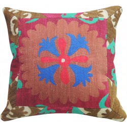 Suzani Pink and Blue Pillow Slip