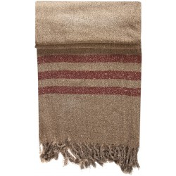 Beige Kirmen Silk Wrap with Red Stripe
