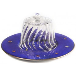 Copper Fez Cake Stand with Dome - Dark Blue