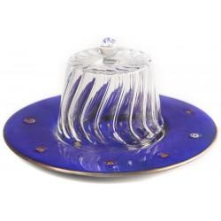 Copper Fez Cake Stand with Dome - Dark Blue