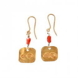 """Eye"" - 24-carat Gold Plated Silver Earrings with Coral"