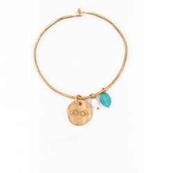 """""""Eye"""" - 24-carat Gold Plated Silver Bracelet with Pearl and Turquoise"""