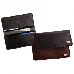 """""""Eye"""" Hand-stitched Leather Unisex Wallet with Brass Eye Sheet - Brown"""