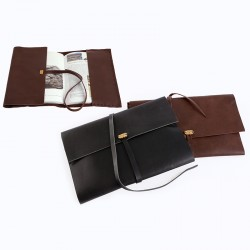 """Eye"" Hand-stitched Leather Book Case with Brass Eye Sheet - Black"